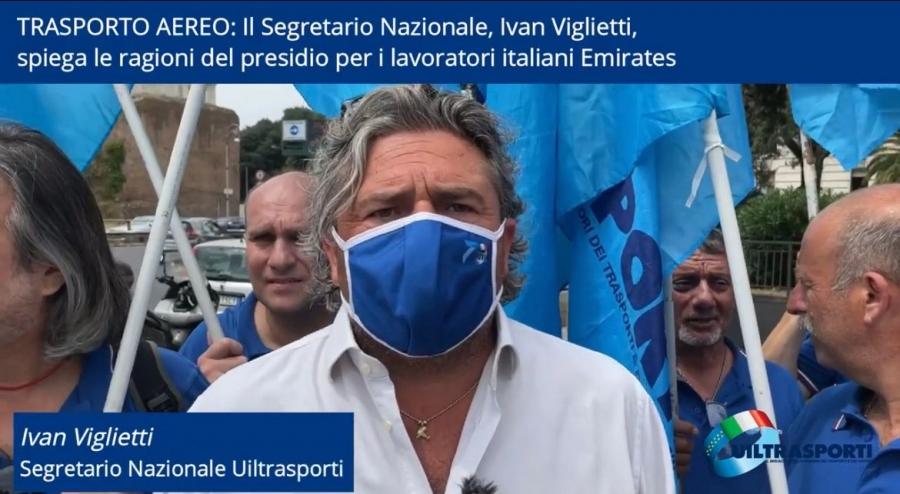 Il Segretario Nazionale, Ivan Viglietti, spiega le ragioni del Presidio organizzato a Roma per i lavoratori italiani Emirates [VIDEO]
